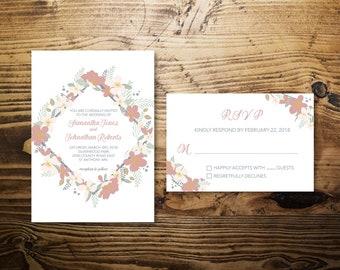Floral Border Wedding Invitation w/ RSVP