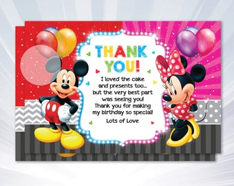 Mickey Thank you card - boy birthday party - boy invitation - pink blue invitation - personalized