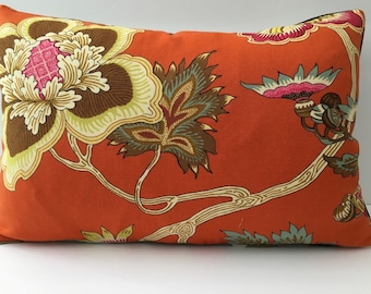 Bright Orange Cream Woodsy Floral Decorator Throw Pillow rectangle