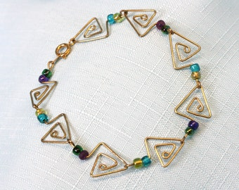 Handcrafted Paperclip Triangle Spiral Bracelet