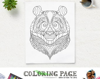 printable coloring page animal head coloring pages panda pattern adult coloring book antistress coloring art therapy instant download zen