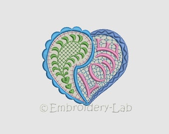 Paisley heart 0001 applique - digital design for embroidery machine
