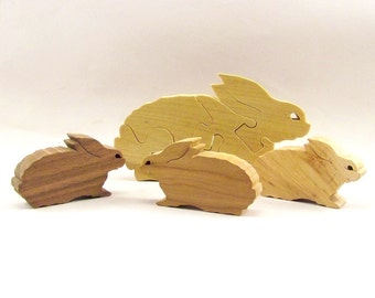 Mama and Baby Bunnies Wood Puzzle