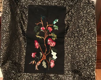 Hand Embroidered and Appliqued Flowers on Silk