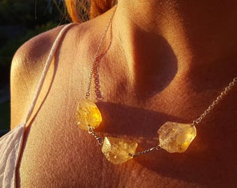 Citrine & Sterling Silver Boho Necklace - Perfect Gift For Her, November Birthstone, Chunky Raw Gemstone, Boho Necklace, Citrine Necklace