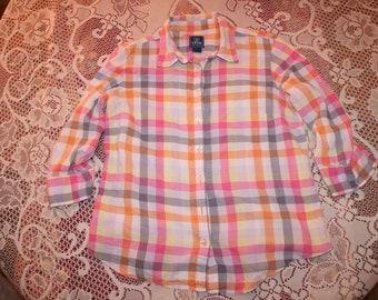 PASTEL PINK PLAID shirt,pink plaid shirt,pink plaid blouse,pink checkered shirt,plaid shirt women,checkered shirt,checkered blouse,pink