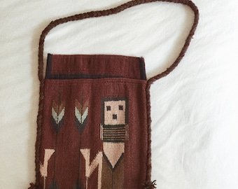 Vintage Handmade Turkish Kilim Wool Rug Bag