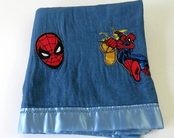 Vintage Handmade Applique SpiderMan Baby Blanket, Baby Boy Gift, Blue Toddler Lovies Blankie, Marvel Comic Hero Stroller Car Seat Accessory