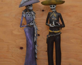 Lovely Large Dia Day Los Muertos Hand Made Clay Katrina Couple, Statues From Mexico