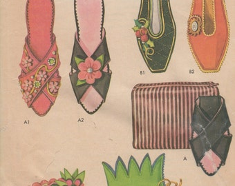 1962 Women's and Girls' Felt Slippers and Felt or Fabric Case McCall's 6559