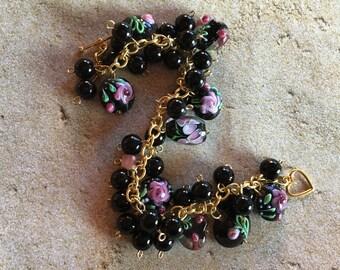 Black and Pink Glass Lampwork Bracelet, Lampwork Bracelet, Beaded Bracelet, Beadwork Bracelet, Gift For Her