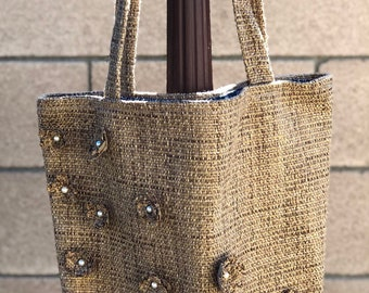 Flower tote bag, tote bag, brown tote bag, tote