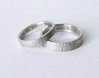 simple engraved wedding rings, engraved bands, wedding ring set, handmade wedding bands, 5mm & 3mm, silver wedding rings, custom made