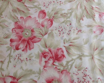 3 Sisters Favorites for Moda, Cream - China White Fabric  with Pink Roses, Fabic by the Yard