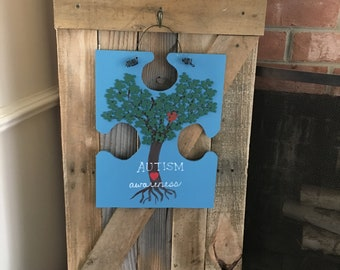 Autism Awareness Door Hanger//Autism Sign//Autism Awareness//Autistic Door Decor//Autistic//Autism Puzzle Piece//Light It Up Blue//