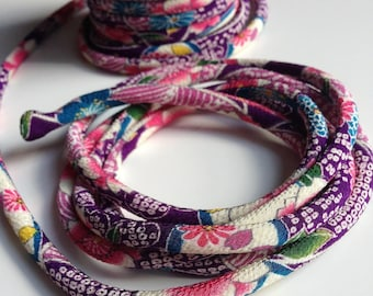 cords Japanese 8mm, Chirimen, pattern cherry blossom, violet (C3007-8)