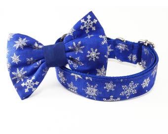 Blue snowflake, Dog Collar, Christmas, Christmas dog collar, dog collar and bow, dog collars for girls, dog collars for boys, dog collar bow