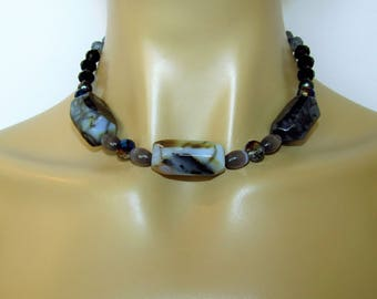 Agate Necklace, Black and Gray, Crystal and Glass, Cats Eye Jewelry, Neutral Colors, 18 Inches, Hematite and Crystal, Short Necklace, Silver