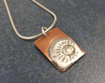Stamped Solder Sunshine Pendant Necklace, Copper, Sterling Silver