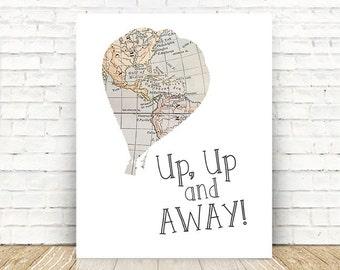 Hot Air Balloon Nursery, Nursery Decor, Up Up and Away, Nursery Map Art, 5x7, 8x10, 11x14 Wall Art PRINTS