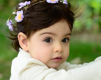THE MALIA BABY - Double Purple Children's Flower Wreath Crown Hair Accessories Flower Girl Boho Wedding Floral Wreath Baby Hair Toddler Bow