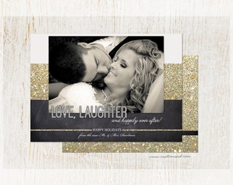 Newlywed Christmas Card - Love and Laughter - Photo Holiday Card - Printable - Wedding - Fast Service