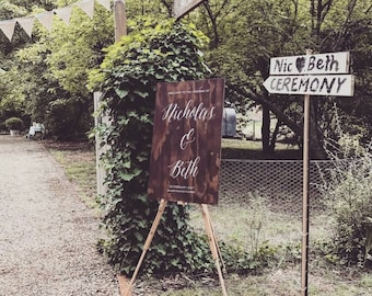 Custom Handpainted Wooden Welcome Wedding Signage, Rustic Wedding Sign, Bride Groom Reception Sign, Ceremony Welcome Sign