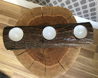 Rustic log candle holder, tea light candle holder, log candleholder, ecofriendly candle holder, handmade candle holder