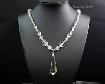 Clear Quartz Necklace - Clear Quartz Point Necklace - Crystal Stone Necklace - Bridal Necklace Crystal Healing Necklace -Luxury Clear Quartz