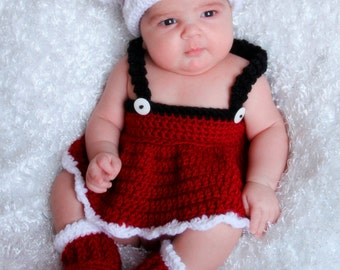 NEW Christmas Crochet PATTERN Santa Set Photography Prop BOTH Boy and Girl 5 sizes Newborn Baby to Toddler