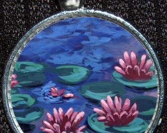 Monet Water Lillies Bridge Fine Art Artwork Pendant Necklace Jewelry