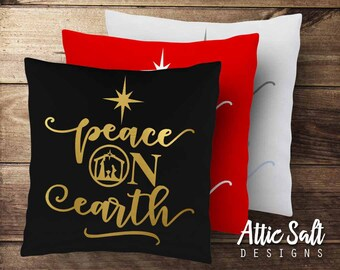 Peace on Earth Christmas Pillow Cover - Cotton Canvas