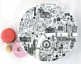 illustrated London map side plate -Fine bone china