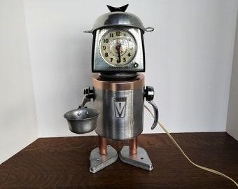 Alarm Clock Robot - Found object - Assemblage Art - Vintage GE - Coffeebot - Mid Century Alarm Clock