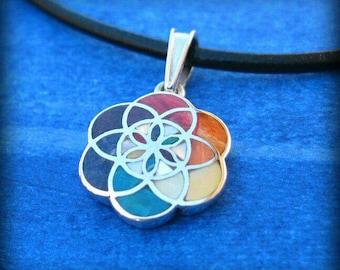 flower of life pendant small pendant peru silver peruvian jewelry inca jewely sacred jewelry sacred geometry necklace boho gypsie shaman