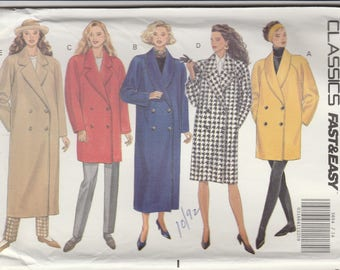 90s Winter Coat Pattern Butterick 5654 Sizes 14 16 18 Uncut