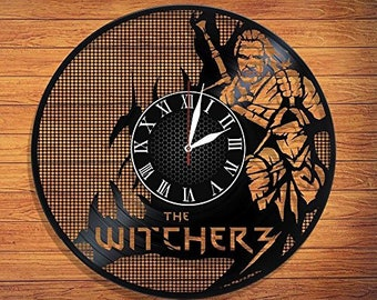 """The Withcer 3 VINYL RECORD CLOCK made from 12"""" Vinyl Record best gift for kids bedroom gift for gamers"""