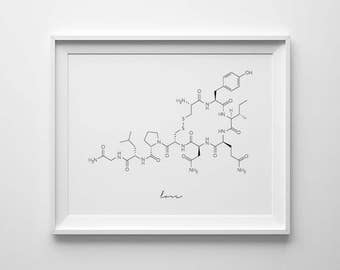 Oxytocin Molecule, Love Molecule, Oxytocin Print, Molecule Printable, Cuddle Molecule, Oxytocin Wall Art, Science Art