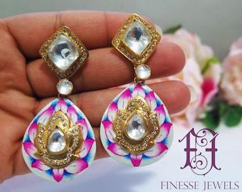 Pink Blue Lotus Meenakari Kundan Earrings,Enameled Jewelry,Indian Earrings,High End Indian Jewelry,Kundan Polki Earrings,Mughal Collectibles