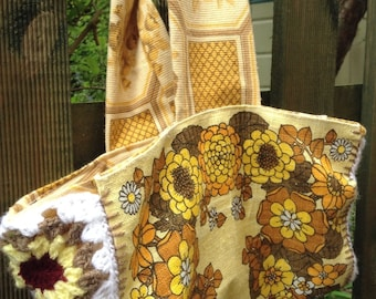 Retro 70s material and crochet bag