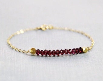 Garnet and Gold Bracelet - January Birthstone Bracelet - Garnet Bracelet