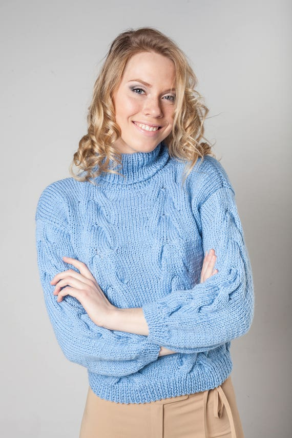 Turtleneck Mom Wool Light Jumper Knit Cable Sweater Raglan Women