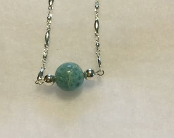 Larimar bead necklace with sterling accents