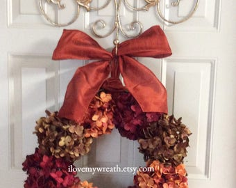 wreaths for fall, front door fall wreaths, fall hydrangea wreath, Thanksgiving wreaths, colorful fall wreaths, front door wreaths