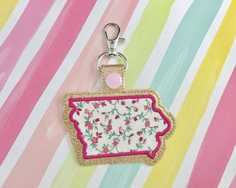 Iowa Applique Snap Tab Embroidery Digital File Instant Download key fob, machine embroidery design, in the hoop