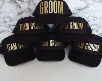 Set of 12 Bachelor Party Hats. 11 x Team Groom. 1 x Groom. Stag Party Hats.