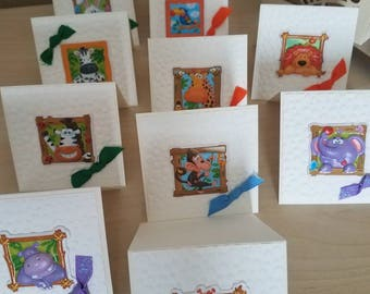 "Kids handmade cards.Mini handmade kids stickers cards.Envelopes mini handmade.Stickers.Kids.3""/3""/3""envelopes mini"