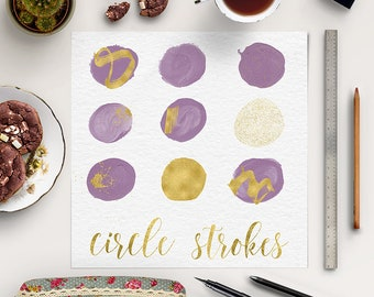 GENTLE VIOLET & GOLD, Brush Strokes Clipart, Violet Circles With Gold Smears, Make-Up Brush Clipart, Handpainted Strokes, BUY5FOR8