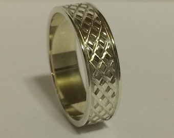 18kt Gold 6mm Mens Wedding Band, Mens Gold Wedding Ring Unique Design Grooves, Diamond Design, 6 mm Mans Wedding Band, White & Yellow Gold
