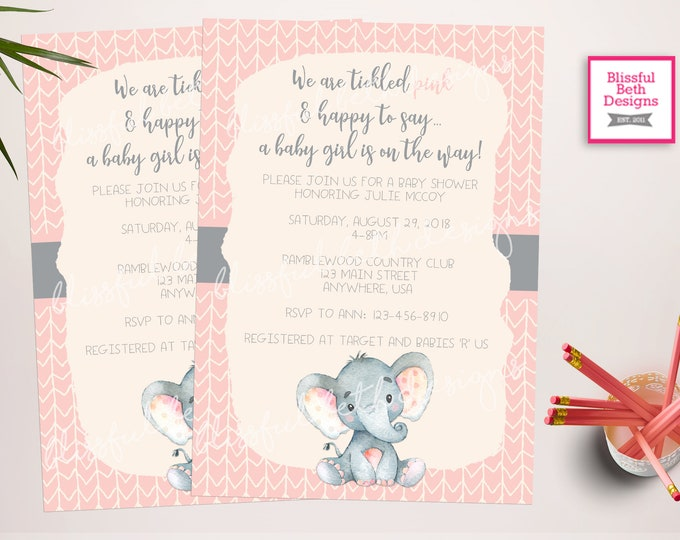 Elephant Baby Shower, Elephant Baby Shower Invitation, Elephant Baby Shower, Elephant, Elephant Shower Invitation, Pink and Gray Baby Shower